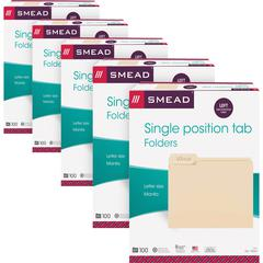"Smead 1/3 Cut Tab Manila File Folders - Letter - 8 1/2"" x 11"" Sheet Size - 3/4"" Expansion - 1/3 Tab Cut - Left Tab Location - 11 pt. Folder Thickness - Stock, Manila - Manila - Recycled - 500 / Carton"