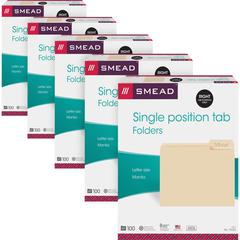 "Smead 1/3 Cut Tab Manila File Folders - Letter - 8 1/2"" x 11"" Sheet Size - 3/4"" Expansion - 1/3 Tab Cut - Right Tab Location - 11 pt. Folder Thickness - Stock, Manila - Manila - Recycled - 500 / Carto"