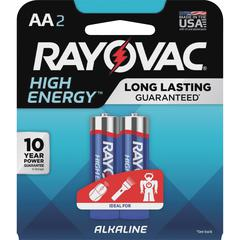 Rayovac High Energy Alkaline AA Batteries - AA - Alkaline - 2 / Pack