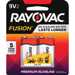 Rayovac Fusion Advanced Alkaline 9V Batteries - Alkaline - 9 V DC - 2 / Pack