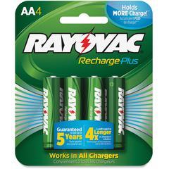 Rayovac Recharge Plus AA Batteries - AA - Nickel Metal Hydride (NiMH) - 24 / Carton