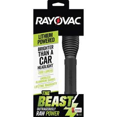 Rayovac The Beast CR123A Lithium Flashlight - CR123A - Anodized AluminumBody, RubberGrip - Black