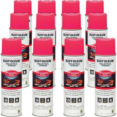 Industrial Choice Color Precision Line Marking Paint - 17 fl oz - 12 / Carton - Fluorescent Pink