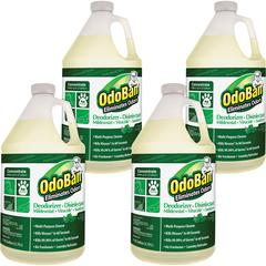 OdoBan Eucalyptus Multi-purp Cleaner Concentrate - Concentrate Liquid - 1 gal (128 fl oz) - Eucalyptus Scent - 4 / Carton - Green