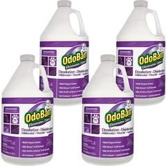 OdoBan Deodorizer Disinfectant Cleaner Concentrate - Concentrate Liquid - 1 gal (128 fl oz) - Lavender Scent - 4 / Carton - Purple