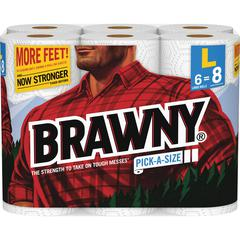 Brawny Industrial Pick-A-Size Paper Towels - 2 Ply - White - Paper - Durable, Perforated - For Kitchen, Garage, Bathroom, Food Service, Glass Cleaning - 24 / Carton