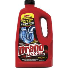 Drano Max Gel Clog Remover - Ready-To-Use Gel - 0.63 gal (80 fl oz) - 6 / Carton - Yellow