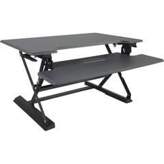 """Victor High Rise Height Adjustable Standing Desk with Keyboard Tray (31"""", Gray) - Gas Spring System Transforms Sit-Down Desk into a Stand-Up Desk - Multiple Height Adjustments Up To 21""""H - Worksurface"""