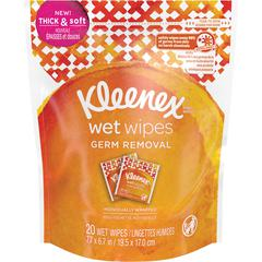 Kleenex Germ Removal Wrapped Wipes - White - Strong, Soft, Individually Wrapped, Alcohol-free, Paraben-free, Phthalate-free, Sulfate-free, Chemical-free - For Skin, Hand, Face, Body - 20 / Pack