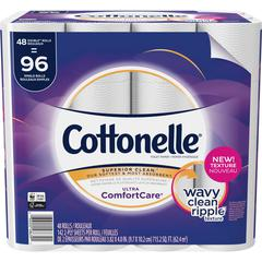 Cottonelle ComfortCare Bath Tissue - 142 Sheets/Roll - White - Flushable, Textured - 48 Rolls Per Carton - 6816 / Carton