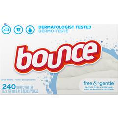 "Bounce Free/Gentle Fabric Sheets - Cloth - 4.30"" Width x 4.90"" Length - 240 / Box - 240 / Box - White"
