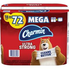 Charmin Mega Roll Bath Tissue - 2 Ply - 286 Sheets/Roll - White - Paper - Strong, Textured, Absorbent, Clog-free, Long Lasting, Septic Safe - For Washroom - 18 / Roll