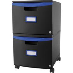 "Storex 2-drawer Mobile File Cabinet - 18.3"" x 14.8"" x 26"" - 2 x Drawer(s) for File, Document - Locking Drawer, Label Holder, Scratch Resistant, Dent Resistant, Rust Resistant, Moisture Resistant, Dura"