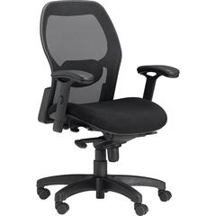 "Safco 3200 Mesh Back Chair - Fabric Seat - 5-star Base - Black, Silver - 24.8"" Width x 23.5"" Depth x 38"" Height"