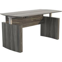 """Safco Medina Curved Height-Adjustable Desk - Walnut Rectangle Top - 63"""" Table Top Width x 36"""" Table Top Depth x 1"""" Table Top Thickness - Assembly Required"""
