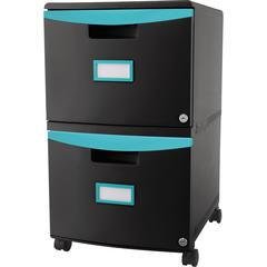 """Storex 2-drawer Mobile File Cabinet - 18.3"""" x 14.8"""" x 26"""" - 2 x Drawer(s) for File, Document - Vertical - Mobility, Scratch Resistant, Rust Resistant, Dent Resistant, Locking Drawer, Stackable, Label"""