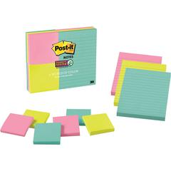 "Post-it® Miami Colors Super Sticky Notes Combo - 3"" x 3"", 4"" x 6"" - Square, Rectangle - 90 Sheets per Pad - Assorted - Paper - Sticky, Recyclable - 9 / Pack"