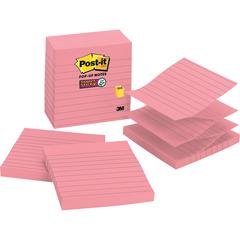 """Post-it® Super Sticky Pop-up Lined Notes Refills - 4"""" x 4"""" - Square - 90 Sheets per Pad - Neon Pink - Sticky - 5 / Pack"""