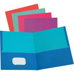 """Oxford Twisted Twin Pocket Folder - Letter - 8 1/2"""" x 11"""" Sheet Size - 100 Sheet Capacity - 2 Pocket(s) - Assorted - Recycled - 50 / Box"""