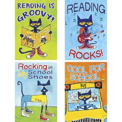 "Teacher Created Resources Pete the Cat Posters Set - ""Reading is Groovy!, Reading Rocks!, Rocking in My School Shoes, Cool for School"" - 13.4"" Width - Pete the Cat - Multicolor"