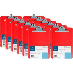 Business Source Spring Clip Plastic Clipboard - Spring Clip - Plastic - Red - 12 / Box