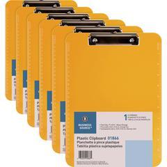 """Business Source Flat Clip Plastic Clipboard - 9"""" x 12"""" - Low-profile - Plastic - Neon Orange - 6 / Bundle"""
