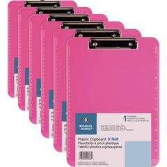 """Business Source Flat Clip Plastic Clipboard - 9"""" x 12"""" - Low-profile - Plastic - Neon Pink - 6 / Bundle"""