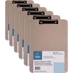 "Business Source Flat Clip Plastic Clipboard - 9"" x 12"" - Low-profile - Plastic - Smoke - 6 / Bundle"