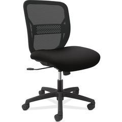 "HON Gateway Armless Mid-back Task Chair - Black Seat - Black Back - Black Frame - 25.8"" Width x 25.3"" Depth x 38.3"" Height"