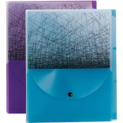 """Smead Poly Fashion 3-divider Travel Organizer File - Letter - 8 1/2"""" x 11"""" Sheet Size - 1/3 Tab Cut - 3 Divider(s) - Translucent Poly - Purple, Teal - 1.60 oz - 2 / Pack"""