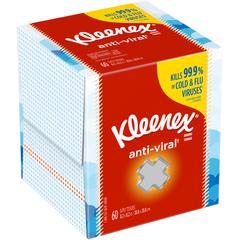 """Kleenex Anti-Viral Facial Tissues - 3 Ply - 8.20"""" x 8.20"""" - White - Soft, Anti-viral, Moist - For Hand - 60 Rolls Per Box - 60 / Each"""