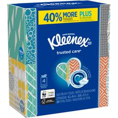 """Kleenex Trusted Care Tissues - 2 Ply - 8.20"""" x 8.40"""" - White - Soft, Strong, Absorbent, Durable - For Home - 70 Quantity Per Box - 4 / Pack"""