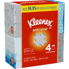 """Kimberly-Clark Anti-Viral Facial Tissues - 3 Ply - 8.20"""" x 8.20"""" - White - Anti-viral, Soft, Moist - For Home, Office, School Quantity Per Box - 4 / Pack"""