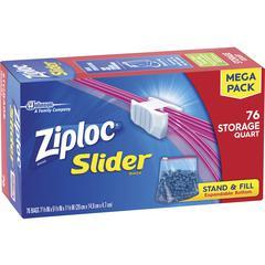 "Ziploc® Brand Slider Quart Storage Bags - 1 quart - 7"" Width x 7.44"" Length - Clear - 76/Box - Food"