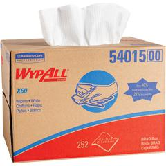 "Wypall X60 Cloths Brag Box - 12.50"" x 16.80"" - White - Cloth - Absorbent - 252 / Carton"