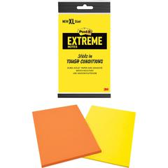 "Post-it® XL Extreme Notes - 4.50"" x 6.75"" - Rectangle - 25 Sheets per Pad - Multicolor - Water Resistant - 2 / Pack"