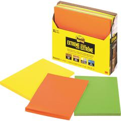 "Post-it® XL Extreme Notes - 4.50"" x 6.75"" - Rectangle - 25 Sheets per Pad - Multicolor - Water Resistant - 9 / Pack"