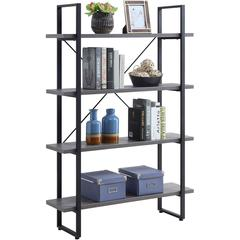 "Lorell SOHO 4-Shelf Metal Frame Bookcase - 29"" x 11.8"" x 57.5"" - 4 Shelve(s) - Band Edge - Material: Melamine, Steel, Polyvinyl Chloride (PVC) - Finish: Charcoal, Powder Coated Frame"