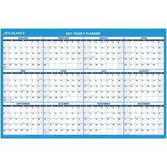 """At-A-Glance Erasable Yearly Wall Planner - Yearly - 1 Year - January 2020 till December 2020 - 36"""" x 24"""" - Wall Mountable - Blue, Gray - Laminated, Erasable, Flexible, Write on/Wipe off"""