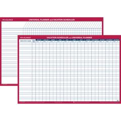 """At-A-Glance Undated Erasable Universal/Vacation Scheduler - 36"""" x 24"""" - Wall Mountable - Rust - Erasable, Laminated"""