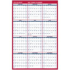 """At-A-Glance Erasable/Reversible Yearly Wall Planner - Yes - Yearly - 1 Year - January 2020 till December 2020 - 36"""" x 24"""" - Wall Mountable - Red, Blue - Laminated, Erasable, Reversible, Write on/Wipe"""