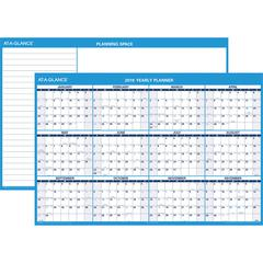 """At-A-Glance Jumbo Erasable Yearly Wall Planner - Yearly - 1 Year - January 2020 till December 2020 - 48"""" x 32"""" - Wall Mountable - Gray - Laminated, Erasable, Notepad, Flexible, Write on/Wipe off"""