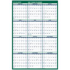 """At-A-Glance Jumbo Erasable Yearly Wall Planner - 1 Year - January 2020 till December 2020 - 32"""" x 48"""" - Wall Mountable - Green - Erasable, Laminated, Write on/Wipe off"""