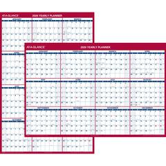 """At-A-Glance Jumbo Erasable/Reversible Yearly Wall Planner - Yearly - 1 Year - January 2020 till December 2020 - 48"""" x 32"""" - Wall Mountable - Red - Erasable, Reversible, Write on/Wipe off"""