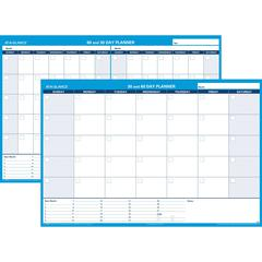"""At-A-Glance 30/60 Day Undated Horizontal Wall Planner - 48"""" x 32"""" - Wall Mountable - Blue - Laminated, Erasable"""