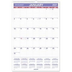 """At-A-Glance Write-on/Wipe-off Laminated Monthly Wall Calendar - Yes - Monthly - 1 Year - January 2020 till December 2020 - 1 Month Single Page Layout - 15 1/2"""" x 22 3/4"""" - Wall Mountable - White, Blue"""