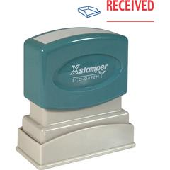 """Xstamper RECEIVED Title Stamp - Message Stamp - """"RECEIVED"""" - 0.50"""" Impression Width x 1.62"""" Impression Length - 100000 Impression(s) - Red, Blue - Polymer - Recycled - 1 Each"""
