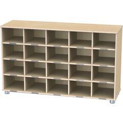 "20-Cubbie Bins Storage - 20 Compartment(s) - 29.5"" Height x 48.5"" Width x 15"" Depth - Baltic - Anodized Aluminum, Baltic Birch - 1Each"