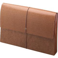 """Smead Leather-Like Expanding Wallets with Elastic Cord - 10"""" x 15"""" Sheet Size - 5 1/4"""" Expansion - Brown - Recycled - 1 Each"""