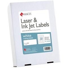 "MACO White Laser/Ink Jet Address Label - Permanent Adhesive - 1"" Width x 2.62"" Length - 30 / Sheet - Rectangle - Laser, Inkjet - White - 7500 / Box"